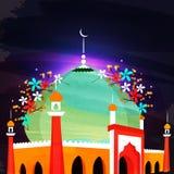 Bunte Moschee für islamische Festivalfeier Lizenzfreies Stockfoto