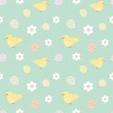 Bunte Muster-Hintergrundillustration Ostern nahtlose mit netten kleinen gelben Vögeln und Eiern Lizenzfreies Stockbild