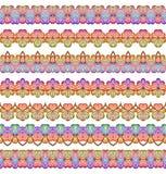 Bunte nahtlose Grenzen eingestellt Ethnischer Hintergrund des gestreiften Musters in den hellen Farben Auch im corel abgehobenen  Lizenzfreie Stockfotografie