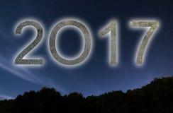 2017 Bunte neues Jahr des Glühens 2017 Nächtlicher Himmel Lizenzfreies Stockbild