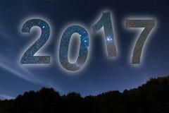 2017 Bunte neues Jahr des Glühens 2017 Nächtlicher Himmel Stockbilder