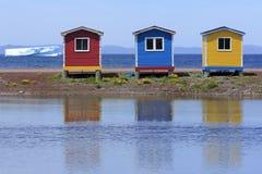 Bunte Neufundland-Fischenhallen lizenzfreie stockfotos