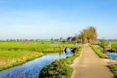 Bunte niederländische Polderlandschaft im Herbst Lizenzfreies Stockfoto