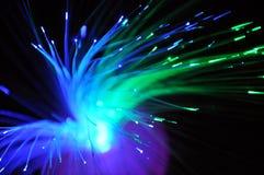 Bunte optische Fiber, die in die Dunkelheit glüht lizenzfreies stockfoto