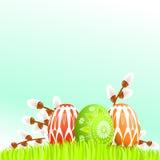 Bunte Ostereier auf Gras Lizenzfreies Stockfoto