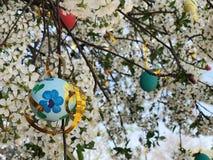 Bunte Ostereier gehangen an einen Baum lizenzfreie stockbilder