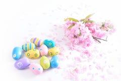 Bunte Ostereier mit rosa Blumen auf weißem Hintergrund Stockbilder