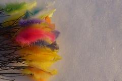 Bunte Ostern-Federn auf weißem Schnee Stockfoto