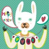 Bunte Ostern-Karte mit Häschen und Eiern Lizenzfreie Stockbilder