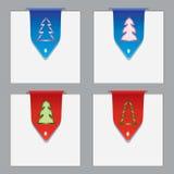 Bunte Papierbookmarks mit Weihnachtsthema Stockfotografie