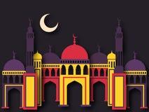 Bunte Papiermoschee für Ramadan Kareem Stockbilder