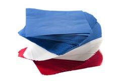 Bunte Partei-Servietten auf getrenntem weißem Hintergrund Stockbild