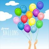 """Bunte Partei steigt im Luft †""""Vektorillustration im Ballon auf Stockbild"""
