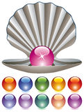 Bunte Perlen und ein Shell Stockfotos