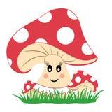 Bunte Pilze im Gras Pilz mit Gefühl L?chelndes Gesicht Vektor stock abbildung