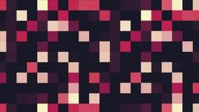 Bunte pixelated Animation mit Blinkenquadraten, nahtlose Schleife animation Schimmerndes geometrisches Muster des Schwarzen lizenzfreie abbildung