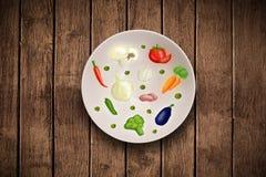 Bunte Platte mit Hand gezeichneten Ikonen, Symbolen, Gemüse und Früchten Lizenzfreies Stockfoto