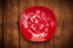 Bunte Platte mit Hand gezeichneten Ikonen, Symbolen, Gemüse und Franc Stockbild
