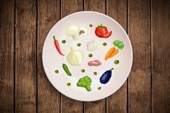 Bunte Platte mit Hand gezeichneten Ikonen, Symbolen, Gemüse und Franc Lizenzfreie Stockfotos