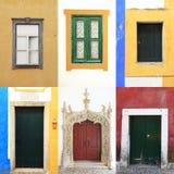 Bunte Portugal-Ansammlung der Windows-Türen Stockfotografie