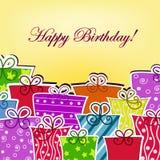 Bunte Postkarte mit Geburtstag Lizenzfreies Stockfoto