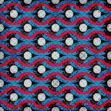 Bunte psychedelische Kreise und Linien nahtloses geometrisches Muster vector Illustrationsschmutzeffekt Stockfotografie