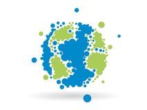 Bunte punktierte geometrische Erdkugelbereich-kommerzielle Grafik lokalisiert auf hellem weißem Hintergrund stock abbildung