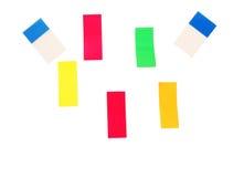Bunte Quadrate des Papiers Stockfotos