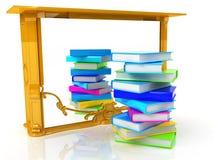 Bunte reale Bücher und Retro- Spiegel Lizenzfreies Stockfoto