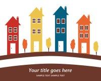 Bunte Reihe der hohen Häuser. Lizenzfreie Stockfotos
