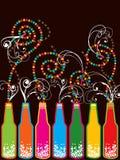 Bunte Retro- Flaschen des neuen Jahres des Knalls Stockbild