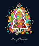 Bunte Retro- Grußkarte des Weihnachtsbaums Lizenzfreie Stockfotografie