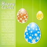 Bunte Retro- Ostern-Designschablone mit Eiern. lizenzfreie abbildung