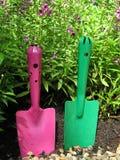 Bunte rosa und grüne Schaufel im Garten Stockfoto