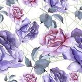 Bunte Rose Botanische mit Blumenblume Nahtloses Hintergrundmuster Stockfoto