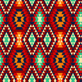Bunte rote gelbe blaue und schwarze aztekische Verzierungen geometrisches ethnisches nahtloses Muster, Vektor Lizenzfreie Stockfotos