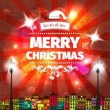 Bunte rote gelbe Weihnachtskarte und Grüße des neuen Jahres vector Illustration Lizenzfreies Stockbild