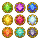 Bunte runde goldene Amulette des Vektors Lizenzfreie Stockfotos