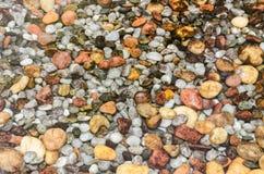 Bunte runde Steine unter Wasser Stockfotografie