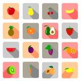 Bunte süße Fruchtsatzvektor-Illustrationskunst Stockfotos