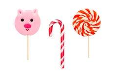 Bunte Süßigkeiten auf weißem Hintergrund Lizenzfreie Stockfotos