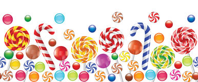 Bunte Süßigkeiten, Fruchtbonbon, Lutscher Stockfotos