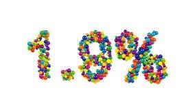 Bunte Süßigkeitsbonbons in Form von 1 9 Prozent Stockbilder