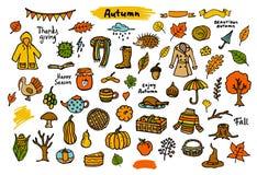 Bunte saisonalgegenstände der Herbstfall-Danksagung,