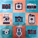 Bunte Sammlung des Retro- Kamerasatzes. Stockfoto