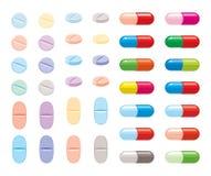 Bunte Sammlung des Vektors Pillen lizenzfreie abbildung