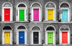 Bunte Sammlung Türen in Dublin Ireland Lizenzfreies Stockbild