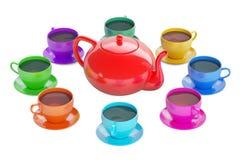 Bunte Schalen mit Teekanne, Wiedergabe 3D Lizenzfreie Stockfotos
