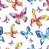 Bunte Schmetterlinge des Aquarells Nahtloses Muster vektor abbildung