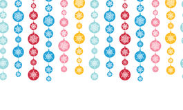 Bunte Schneeflocken-Streifen-horizontales nahtloses Stockbild